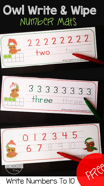 FREE Owl Write & Wipe Number Mats - free printable writing numbers practice 1-10 with a Christmas theme for kindergarten and preschool.  These are better than Christmas worksheets because they are reusable to make them a fun activities for kids. I love that they are LOW PREP and reusable!