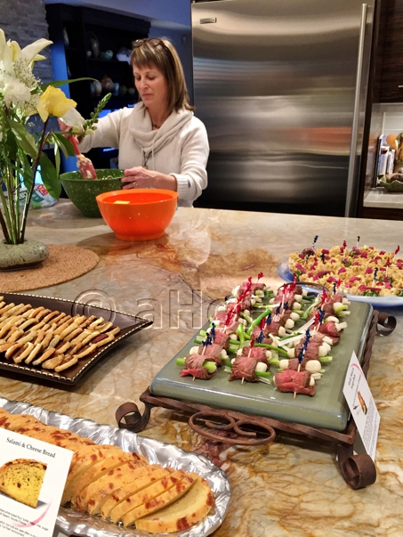 Hostess Ann prepping salad