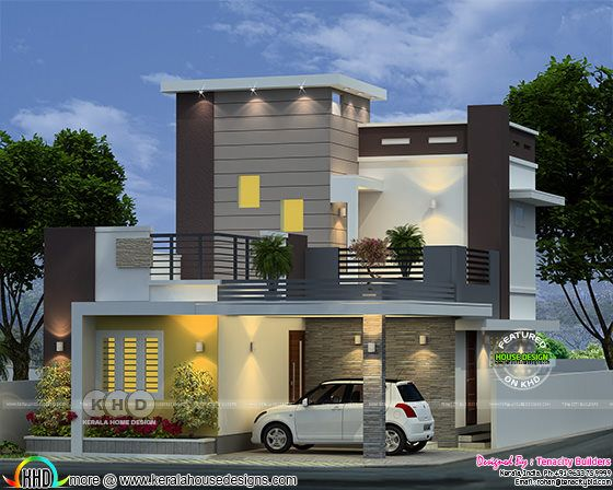 1380 sq-ft 2 bedroom modern contemporary house 3d rendering