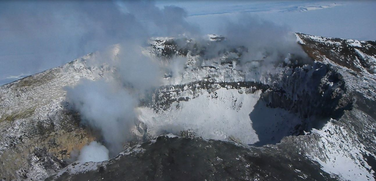 Summit crater of Mount Erebus - Antarctic volcano