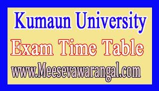 Kumaun University MA / M.Sc / M.Com 1st / 3rd Sem Dec 2016 Exam Time Table
