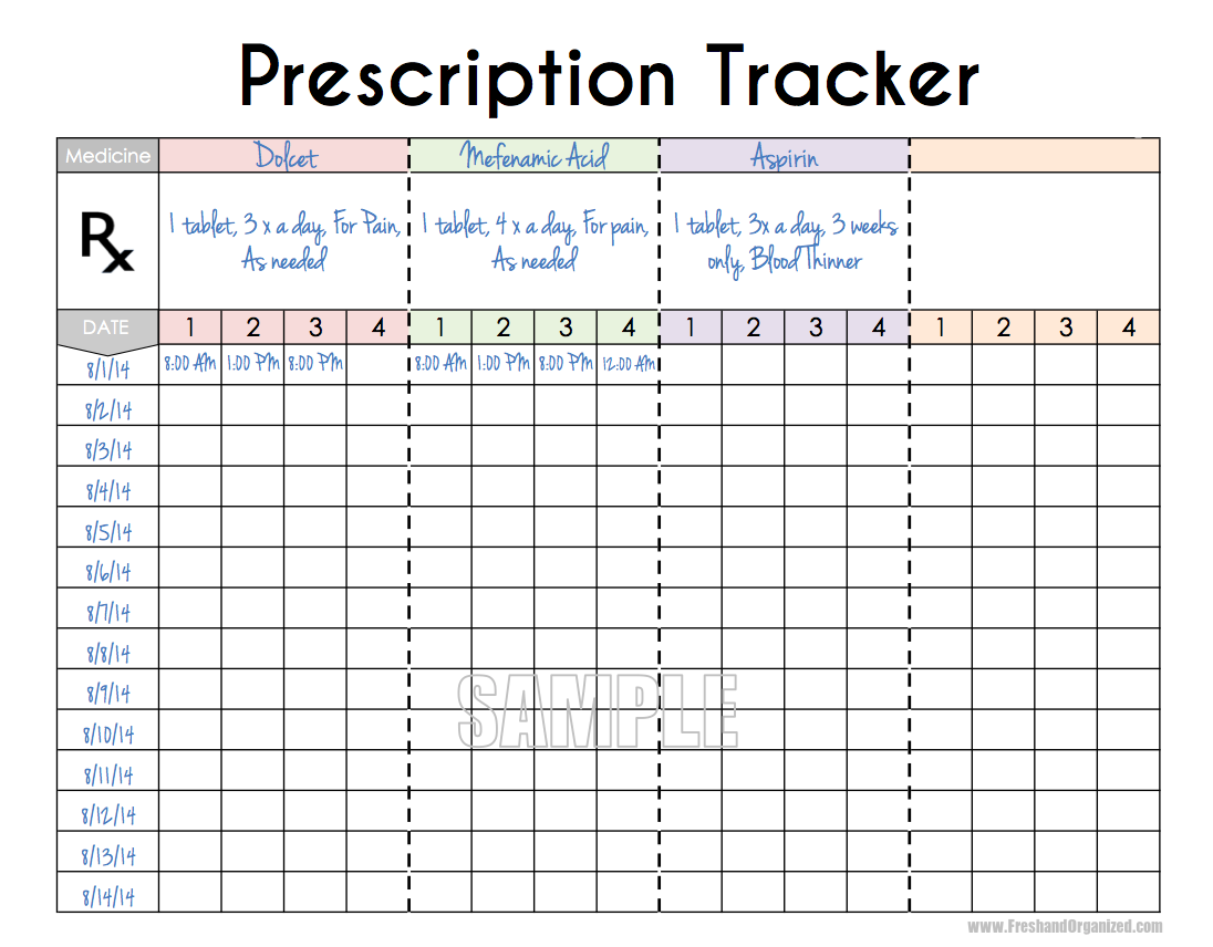 Printable Medication Time Schedule