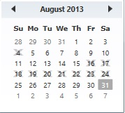 Blackout Dates in Calendar Control: WPF