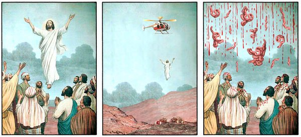 Funny The Ascension of Christ Cartoon Religious Picture