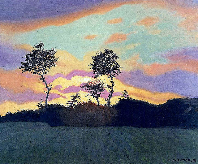 a 1919 Felix Vallotton painting of a landscape in silhouette
