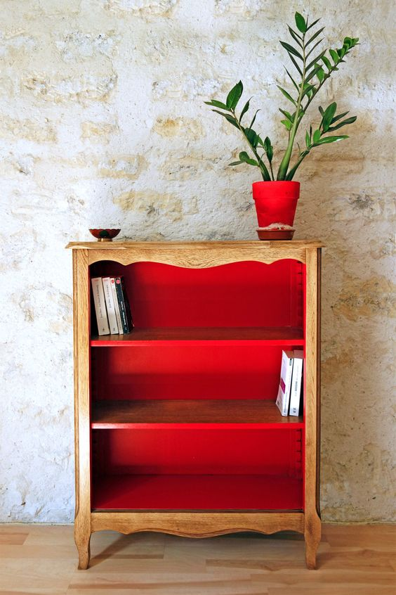 red bookcase, painted bookcase,