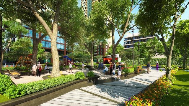 Khuôn viên dạo bộ tràn đầy màu xanh tại dự án ECO LAKE VIEW