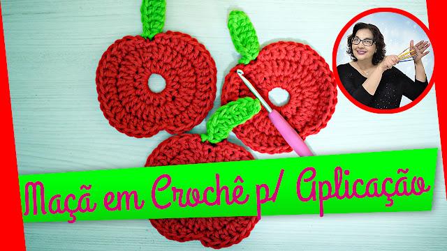 edinir croche ensina Maçã em Crochê para Aplicação passo a passo com edinir croche no curso de croche