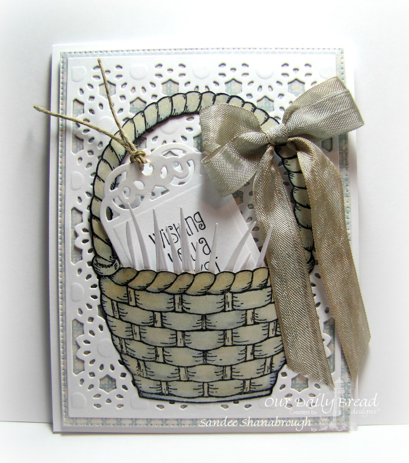 Stamps - Basket of Blessings, ODBD Shabby Rose Paper Collection, ODBD Custom Daisy Chain Background Die, ODBD Custom Recipe Card and Tags Dies, ODBD Custom Grass Border Die