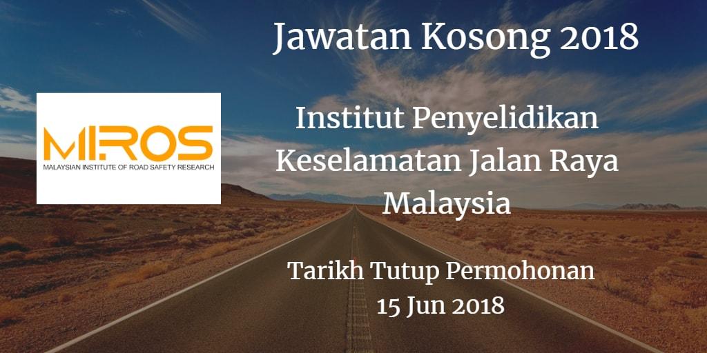 Jawatan Kosong MIROS 15 Jun 2018
