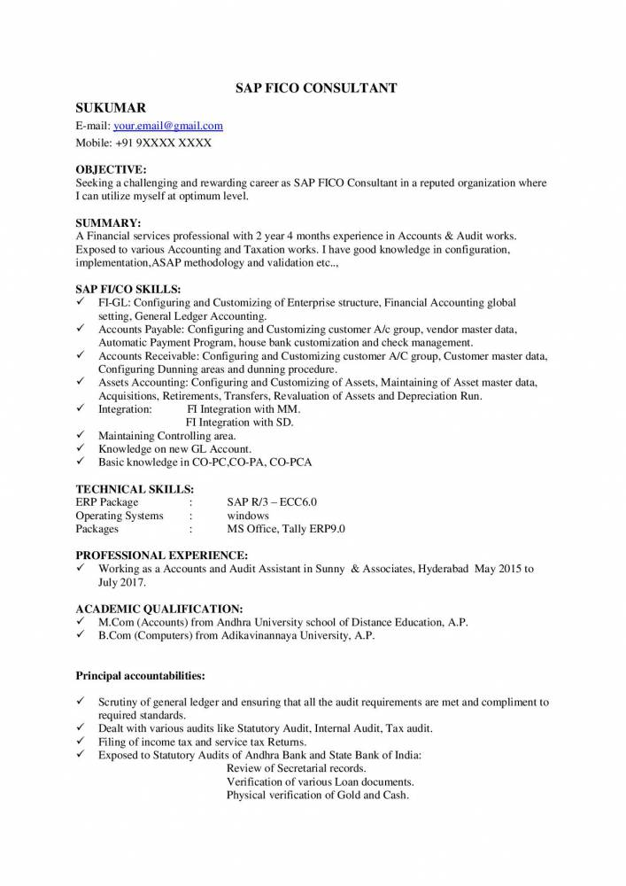 SAP FICO Fresher Resume/CV - Free Download Now - Resume Samples