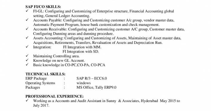 Sap Fico Fresher Resume Cv Free Download Now Resume
