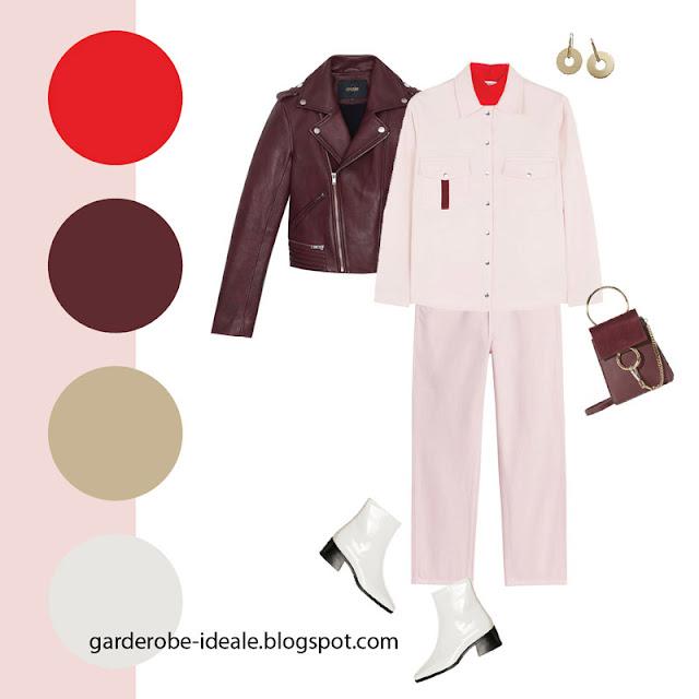 Жакет утилити с джинсами розового цвета и бордовой косухой