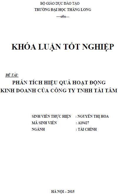 Phân tích hiệu quả hoạt động kinh doanh của Công ty TNHH Tài Tâm