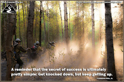 A reminder that the secret of success is ultimately pretty simple: Get knocked down, but keep getting up. –Leonard Pitts, Jr.
