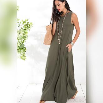 Αμάνικο μάξι πράσινο φόρεμα ADRIANA