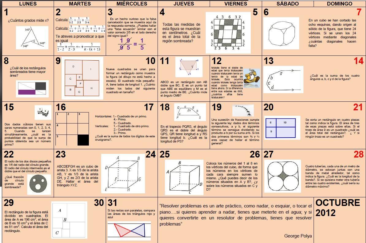 Profe De Mates Calendario Matem 225 Tico Octubre