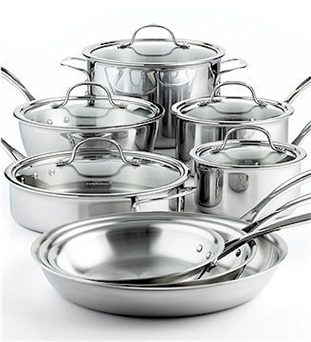 lowest price calphalon 13piece triply stainless steel cookware set for on amazon