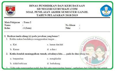 Soal UAS / PAS Kelas 1 Tema 2 Kurikulum 2013 Revisi 2018