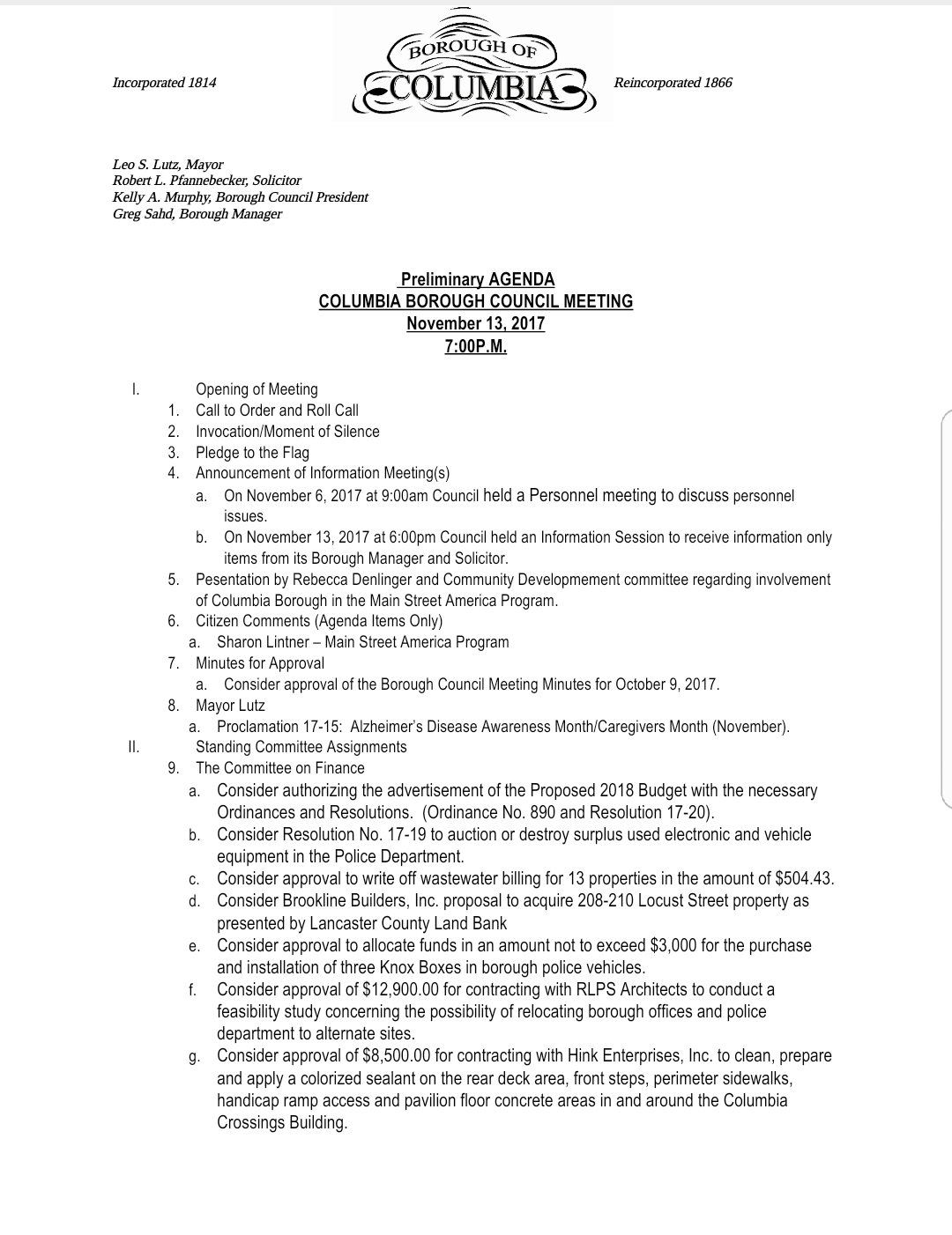 COLUMBIA SPY Draft Agenda Borough Council Meeting November 13 2017 – Draft Meeting Agenda