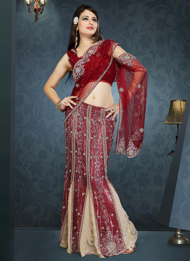 12 Indian Bridal Lehenga Style Sarees For The Modern Brides - Romantic Love Messages, Quotes and ...