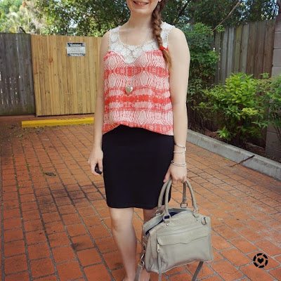 awayfromblue instagram red crochet printed tank and pencil skirt summer office style Rebecca Minkoff mam bag