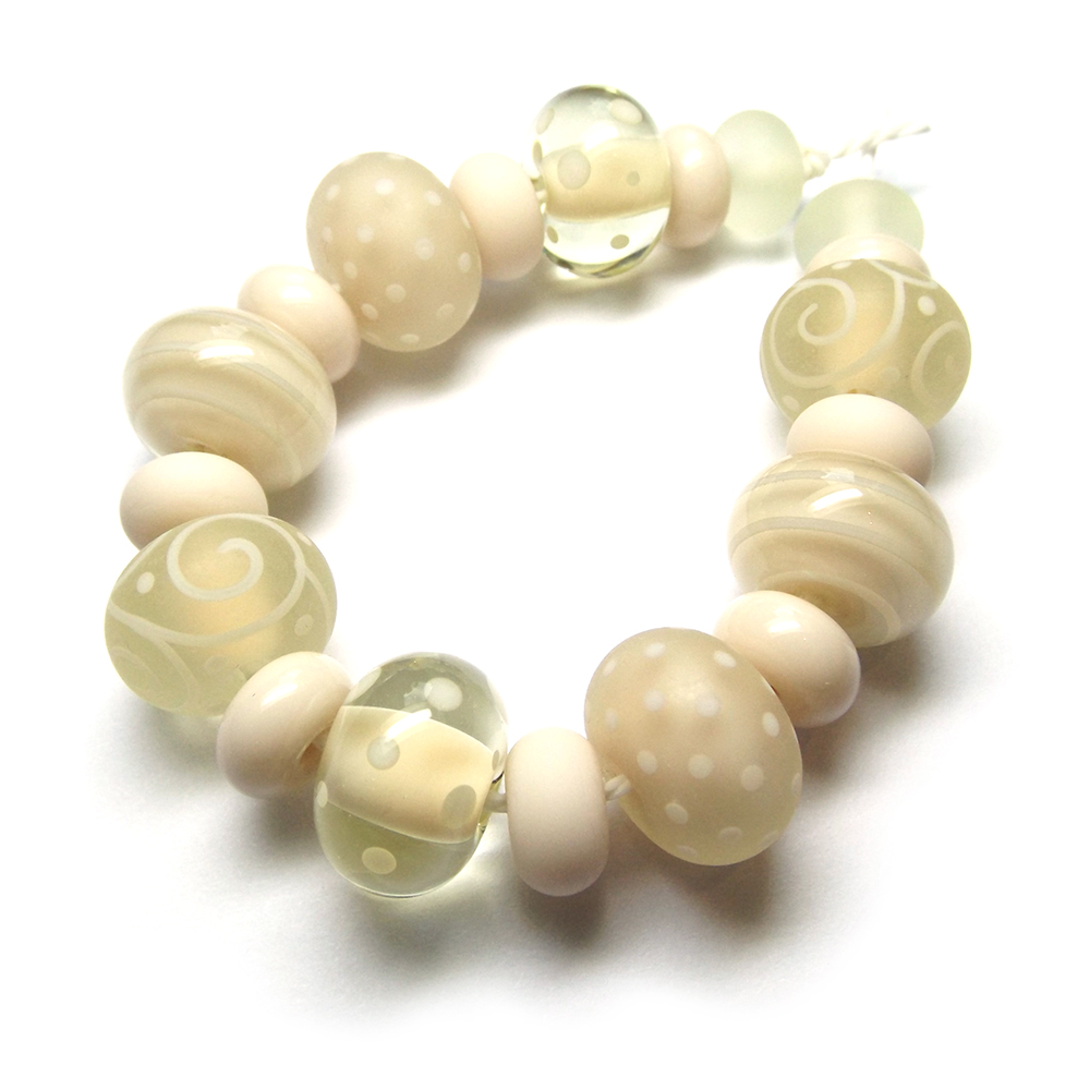 Lampwork glass beads made in CiM Flax and Hazelnut Mousse