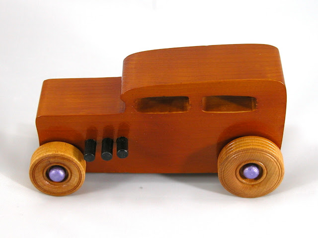 Left Side Top - Wooden Toy Car - Hot Rod Freaky Ford - 32 Sedan - Pine - Amber Shellac - Metallic Purple Hubs