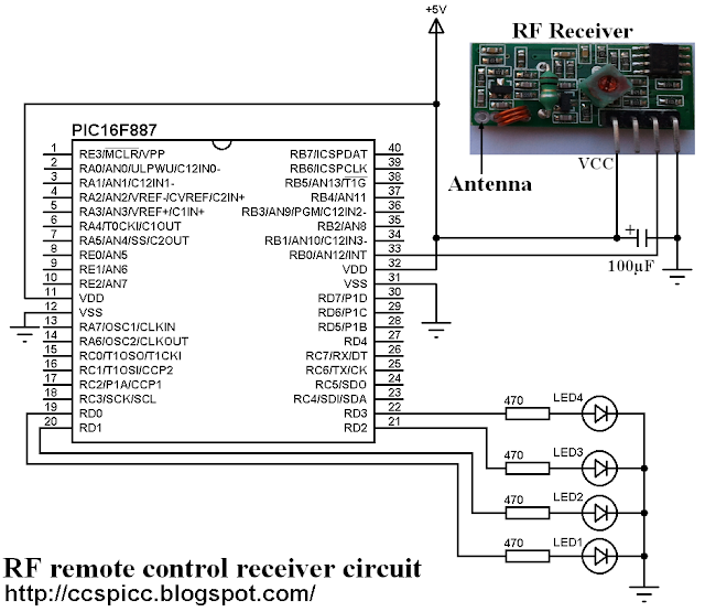 433MHz - 315MHz RF remote control receiver circuit using PIC16F887 microconroller