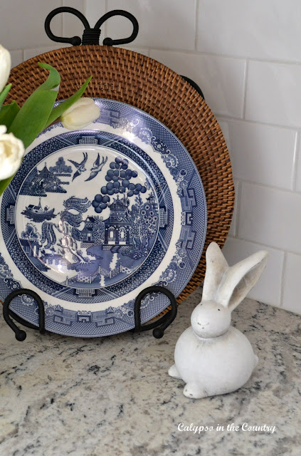 Blue willow and white bunny