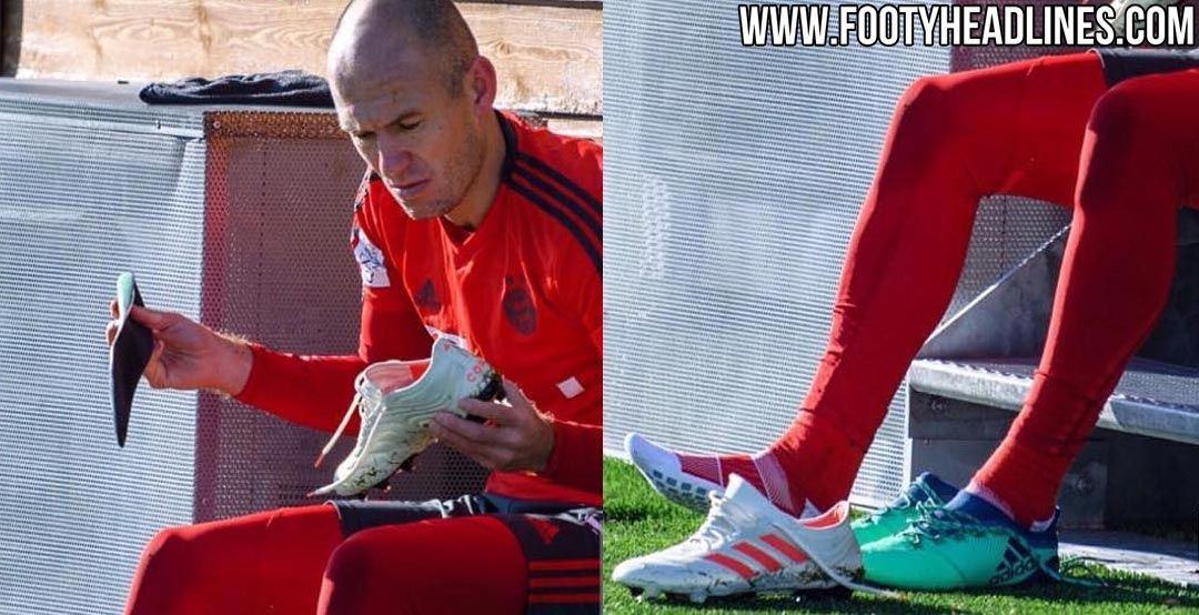 28eb001d7ef FC Bayern Munich s Arjen Robben has been spotted testing the new Adidas  Copa 19.1 football boot in training this week.