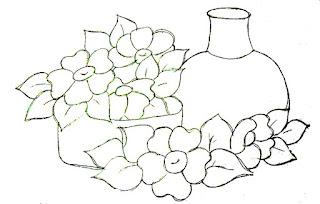 desenho de moringa, bacia e flores para pintar