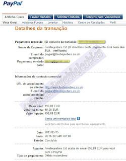 paypal freebiejeebies dinheiro libras euros pagamento ganha prémios