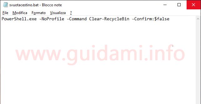 File blocco note di Windows 10 con comando script per svuotare in automatico il Cestino