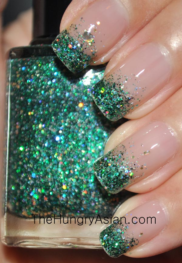 Gradient French Manicure: Glitter Gradient French Mani Tutorial