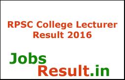 RPSC College Lecturer Result 2016