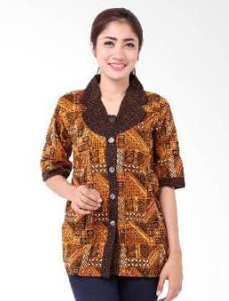 32+ Desain Model Baju Batik Kerja Wanita Terbaru 2018, Simpel Modis