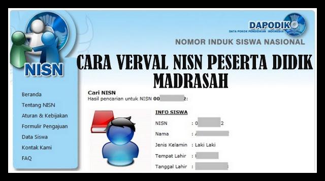 Cara Verval NISN Peserta Didik Madrasah Terbaru