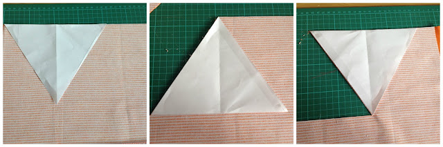 collage of 3 pictures showing how to place template on fabric