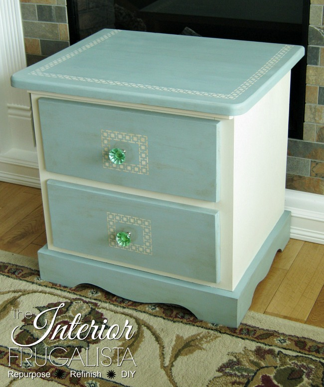 Greek Key Stenciled Pine Night Table AFTER