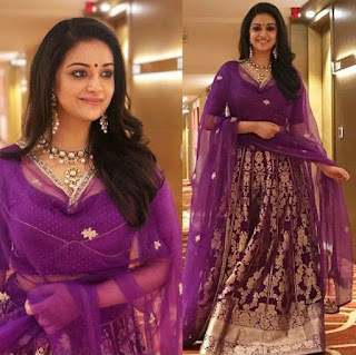 Keerthy Suresh in Brinzal Color Dress with Cute and Awesome Lovely Chubby Cheeks Smile