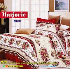 Sprei Custom Katun Lokal Dewasa Marjorie Bunga Floral Krem Merah Putih