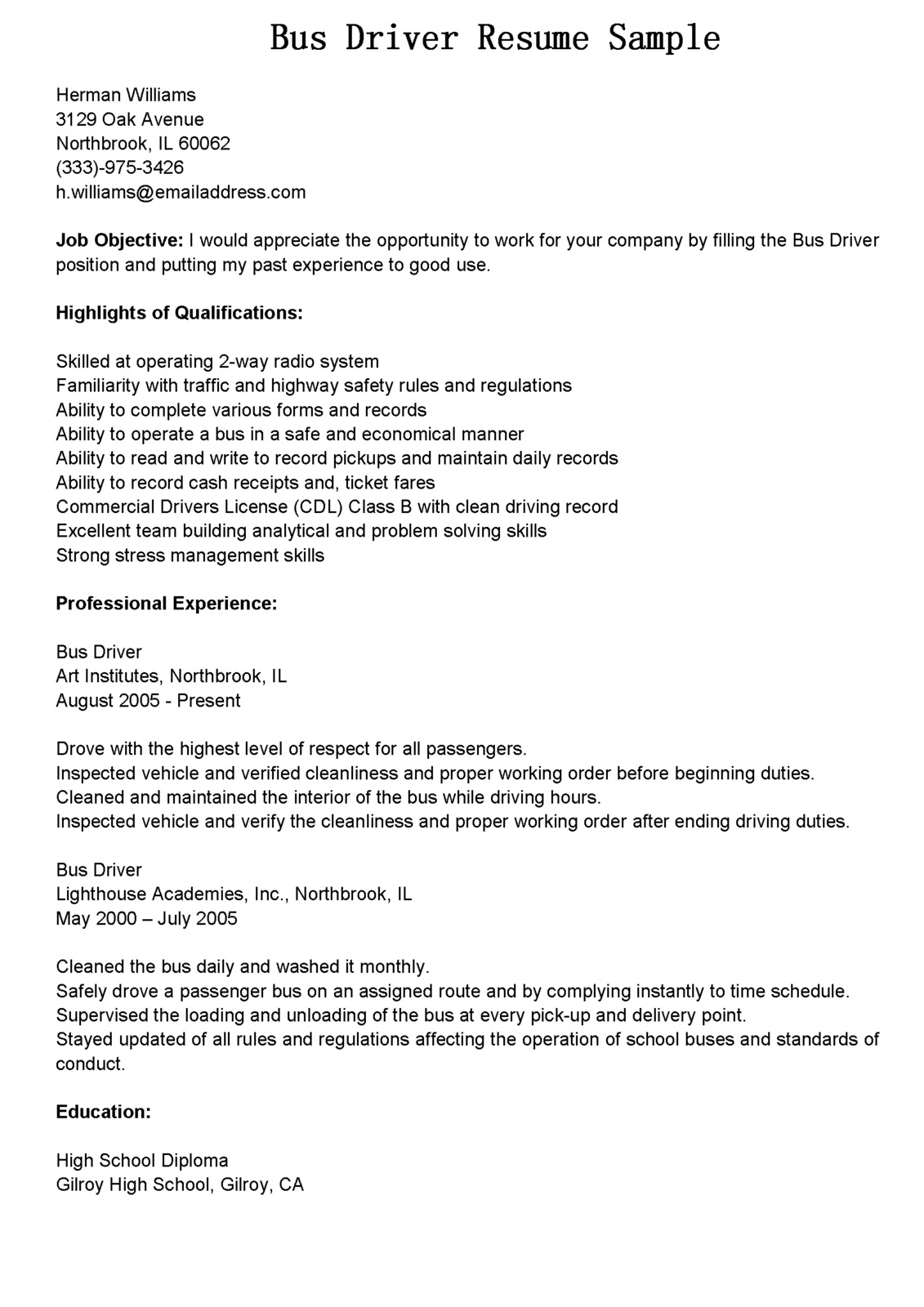 Cdl Resume Objective Examples Driver Resumes Bus Driver Resume Sample