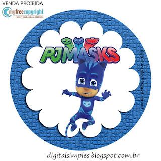 Toppers o Etiquetas de Super héroes en Pijamas para imprimir gratis.