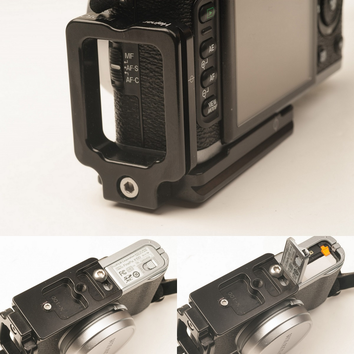 Hejnar PHOTO X100 L Bracket on Fuji X100 side and bottom details