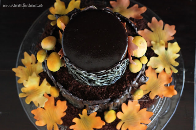 Tarta árbol de chocolate