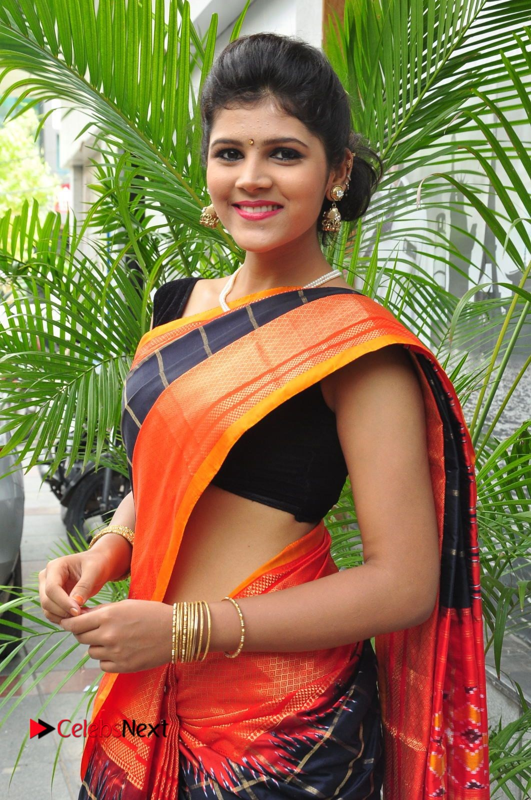 Model Sangeeta Kamath Pictures in Saree at Silk India Expo Curtain Raiser  0020.JPG