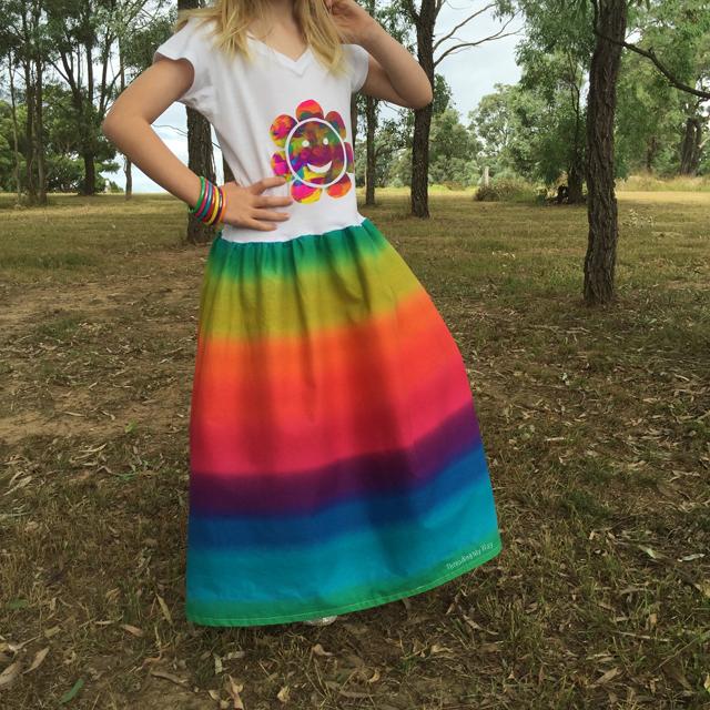 Screen print a t-shirt and make it into a maxi, rainbow t-shirt dress ~ Threading My Way