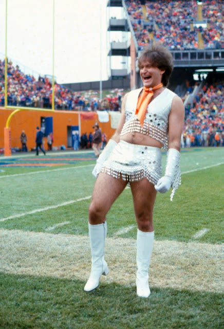 Robin Williams dressed as a Broncos Cheerleader 1979