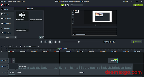 Descargar Techsmith Camtasia Studio 2018 Full _ interfaz